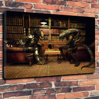 "Alien Vs Predator Chess Printed Canvas Picture A1.30""x20"" 30mm Deep Movie Art"