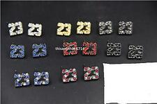 Michael Jordan 23 Logo All 8 Colors CZ Stud Earrings In Gift Box