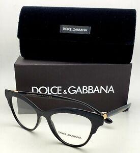 New DOLCE&GABBANA Rx-able Eyeglasses DG 3313 501 52-17 Black&Gold Cat Eye Frames