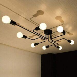 8 Heads Black Chandelier Sputnik DIY Spider Ceiling Lighting Living Room Bedroom