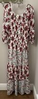 Anthropologie Fig And Flower Maxi Boho Tiered Lined Floral & Stripe Dress Large