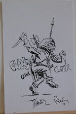Original art, Signed, KNIFE wielding, 4x6, more art in store, Axe, Spear, Noisy