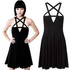 UK Womens Gothic Pentagram Strappy Skater Mini Party Dress Lace UP Star Sundress