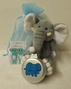 Elephant theme gift set - Soft toy, brush & hair clips in blue gift bag