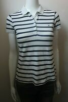 GANT Women White Navy Stripe Cotton Pique POLO Shirt Top Tee T shirt 8 10 12 14