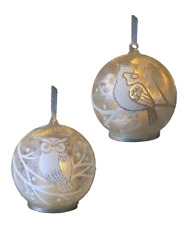 Ganz E9 Christmas Woodland LED Glass Ornament Realistic Flame 4in 2pc Set
