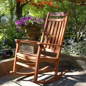 World's Finest Outdoor Rocking Chair, Premium Robinia Wood - Natural Oil