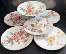 Attractive vintage comport & 5 plate dessert set, w flower designs