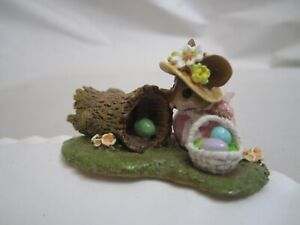 Genuine Wee Forest Folk Egg Hunt Easter Edition M-332 Retired Mouse Basket Log