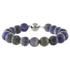 """925 Sterling Silver Ball Clasp Bracelet / Natural 10mm Round Sodalite 7.5"""""""