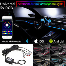 RGB 5 LED Car Interior Ambient Light 6m Neon Strip Bluetooth Phone APP Control