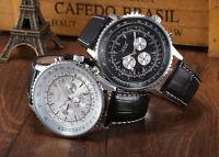 JARAGAR Navitimer Homage Automatic Mechanical Watch Leather Black Submariner Men