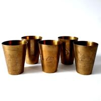 Lot 5 Antique Engraved Brass Egyptian Islamic Floral Cup Glass Wine Cups Goblets