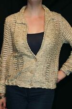 S-M Oatmeal Natural Open Weave Vtg 70s Europa Boutique Boho Sweater Jacket Top