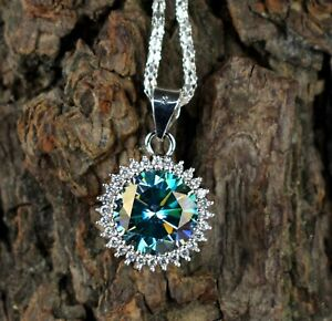 Free Delivery 11.65 Ct Earthmined Blue Diamond Solitaire With Accents Pendant