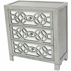 River of Goods Drawer Chest: Glam Slam 3-Drawer Mirrored Wood Cabinet Furniture