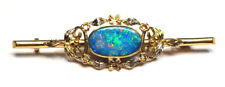 VINTAGE Opal Doublet Brooch - 9ct Tri-Colour Gold Yellow/White/Rose  Australian
