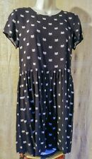 H&M CAT DRESS tunic Smock Shift ADULT SMALL Y14+ Black White BOHO Hippy Grunge