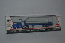 Model Power 19000 Blue Tractor w/ Blue Flat Bed Trailer 1:87