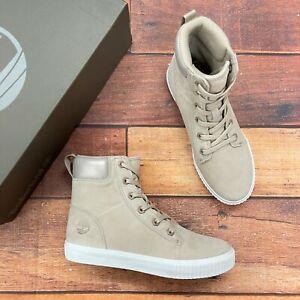Timberland Women's Skyla Bay 6 Inch Light Beige Nubuck Sneaker Boots A2EUQ
