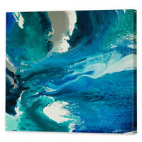Teal Blue Seascape Canvas Art Print   Framed Ready to Hang Abstract Wall Art