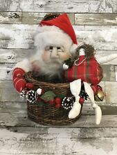 Vintage Collectible Santa Basket Figure with Doll