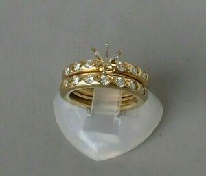 18K YELLOW GOLD DIAMOND SEMI MOUNT WEDDING ENGAGEMENT RING SET