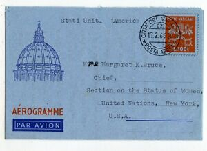VATICAN CITY AEROGRAMME L.100. LF-8, COMM'L USE  USA/ UN 1966, PUNCH HOLE (D439)