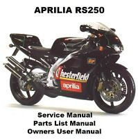 APRILIA RS250 Service Repair Workshop Parts List Owners Manual PDF on CD-R RS