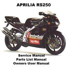 APRILIA RS250 Service Repair Workshop Parts List Owners Manual PDF on CD-R RS