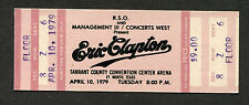 1979 Eric Clapton Muddy Waters Unused Concert Ticket Ft Worth Texas Backless