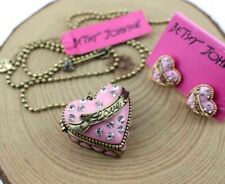 Hot Betsey Johnson Fashion Rhinestone Can open Heart-shaped necklace and earring