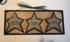 FAITH HOPE LOVE Country carved look stars inspirational religious wood sign 5x12