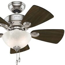 Hunter34 inch Ceiling Fan with Bowl Light kit in Brushed Nickel