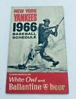 1965 New York Yankees Baseball Schedule White Owl Cigars & Ballentine Beer #E