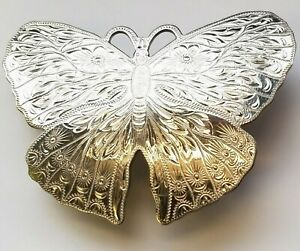 VINTAGE MONTANA SILVERSMITHS BUTTERFLY BELT BUCKLE ETCHED GERMAN SILVER NICE!