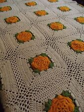 Vintage Hand Made Crochet GRANNY SQUARE Afghan Blanket Lap throw 68x49 LONG rose