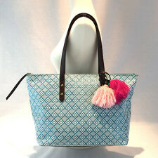 Fossil Jenna Tote Turquoise Green Canvas Summer Pom Pom Purse Shoulder Bag NEW