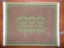 Dollhouse Miniature Rug, Green and Brown, Room Size #5775
