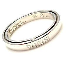 Rare! Authentic Damiani Brad Pitt Platinum 4 Diamond 3mm Band Ring Sz 8.25