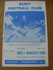 10/02/1968 Bury v Mansfield Town (Staple Torn Out, Score Noted On Cover & Notes