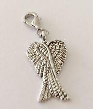 LOVELY ANGEL WINGS CROSSED CLIP ON CHARM FOR BRACELETS - TIBETIAN SILVER - NEW