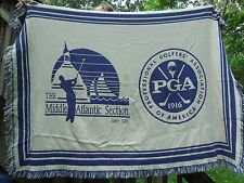 Pga Golf Afghan Woven Throw Blue and White Blanket-The Middle Atlantic Section