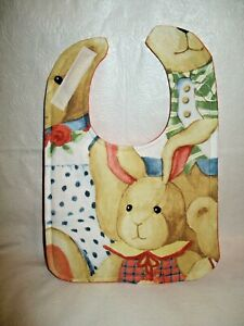 Handmade Large Baby Bib with Hook and Loop Closure. Washable Best Dressed Bunny