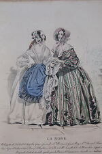 GRAVURE COULEURS LA MODE 1840-OLD FASHION PRINT XIXe SIECLE COSTUME MD100
