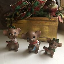3 1960's Collectable Josef Originals Christmas Porcelain Mouse Carolers/Wrapped