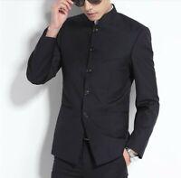 Herrenmode Blazer Jacke Einreihiges Chinesischen Stil Stehkragen Schlank Formell