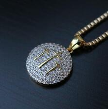 Gold Jesus Piece Fully Iced Out Three Cross Necklace