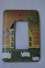Single Rocker Metal Wall Switch Plate Cover Americana Folk Art Sheep Farmhouse