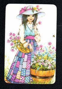 Vintage Swap  Card - Pretty Girl with Flower Basket (BLANK BACK)